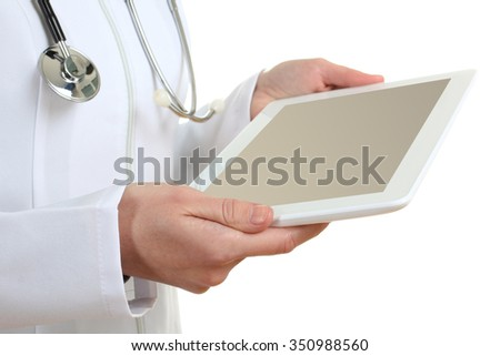young doctor with stethoscope and tablet isolated on white background - stock photo