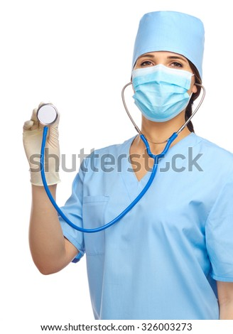 Young doctor with stethoscope isolated
