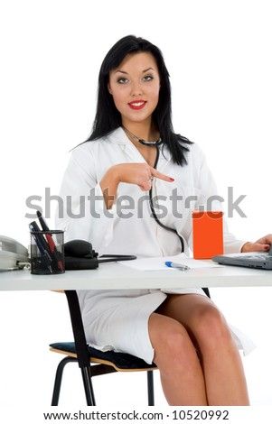 young doctor with stethoscope on white background