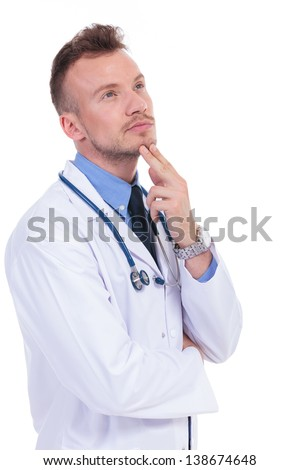 young doctor wondering about his patients illness