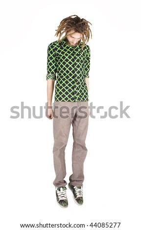 young dreadlock man hang isolated - stock photo