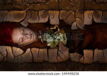 Young drown woman in a poetic representation, red hair girl - stock photo