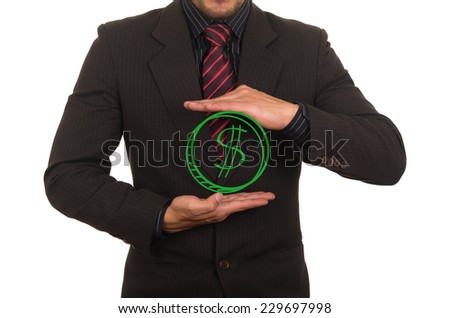young elegant businessman dressed in black holding drawn money concept of payment success savings wealth - stock photo