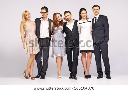 Young elegant friends - stock photo