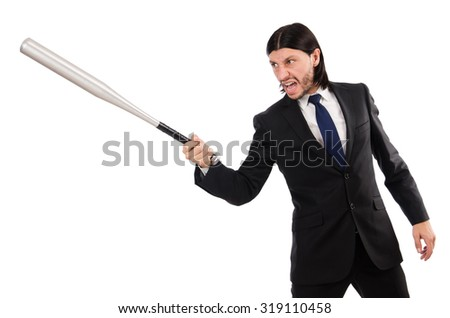 Young elegant man holding bat isolated on white