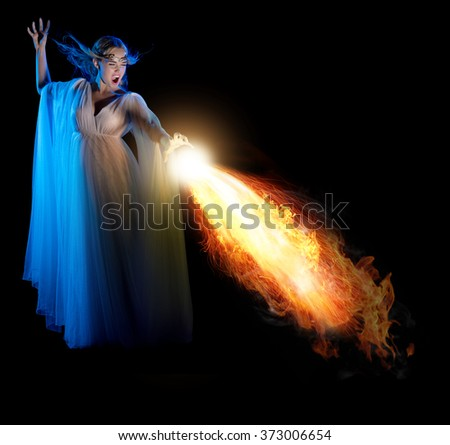 Young elven girl with flame isolated - stock photo