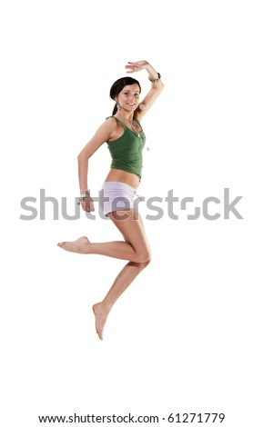 Young emotional woman jumping, isolated on white - stock photo