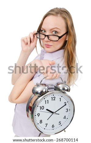 Young employee holding alarm clock isolated on white - stock photo