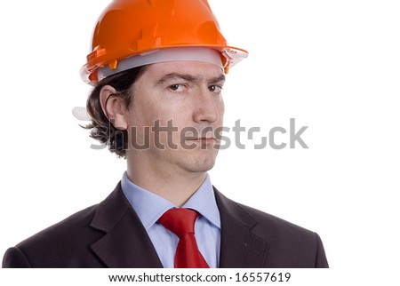 young engineer portrait isolated on white - stock photo