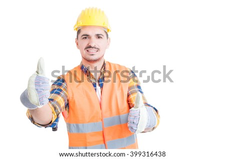 Young engineer smiling and showing thumbs up gesture with both hands acting cheerful isolated on white - stock photo