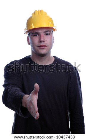 young engineer stay over white background