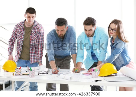 Young engineers working in the office