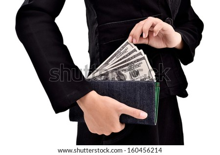 Young entrepreneurs take a lot of dollars in the wallet, isolated on white background - stock photo