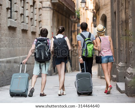 Young european couples  during city walking - stock photo