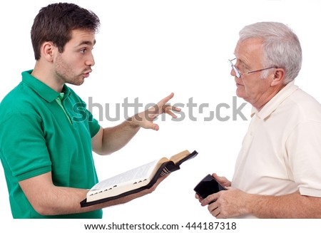 Young evangelist sharing God's Words with an old man