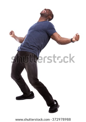 young excited casual black man screaming on white background - stock photo