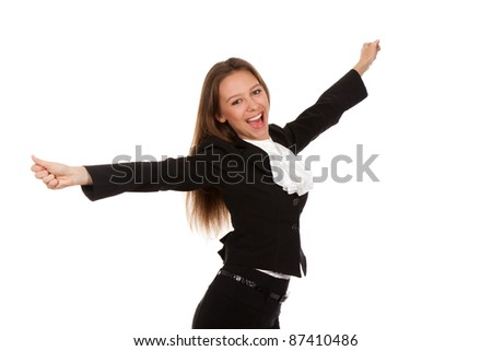 young excited smile businesswoman hold hands up, isolated over white background