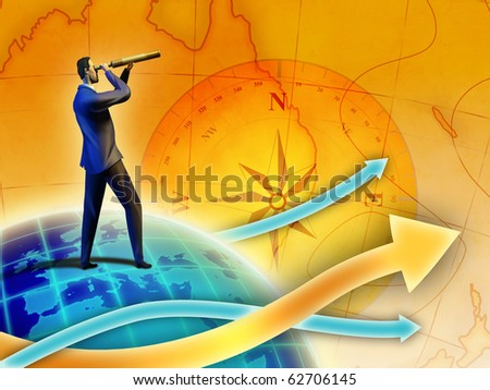 Young executive exploring new business opportunities. Digital illustration. - stock photo
