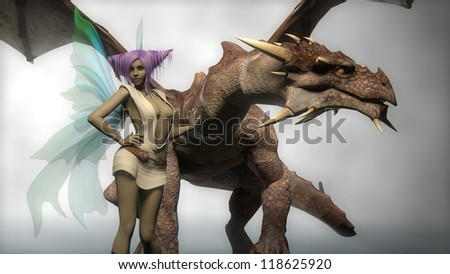young fairy with dragon - stock photo