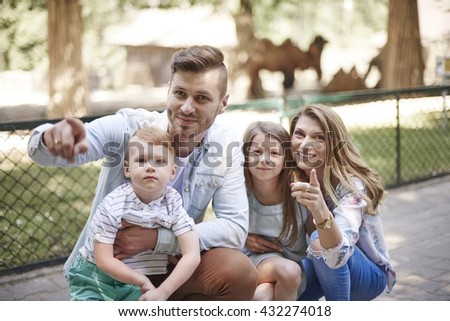 Young family at the zoo