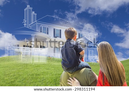 Young Family Facing Ghosted House Drawing, Partial Photo and Rolling Green Hills. - stock photo