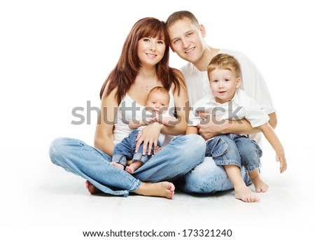 Young family four persons, smiling father mother and two children sons, over white background  - stock photo