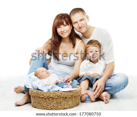 Young family four persons, smiling father mother couple and two children sons, over white background  - stock photo