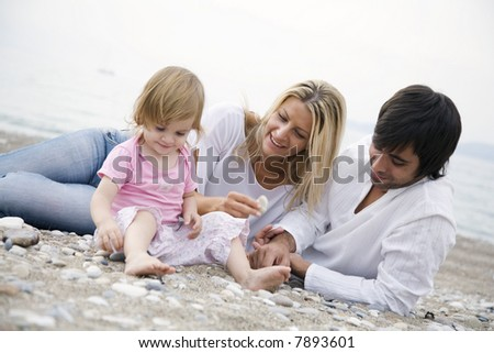 young family on the beach,focus is mainyly on the mothers face