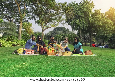 Young Family Baby Having Picnic On Stock Photo (Royalty Free ...