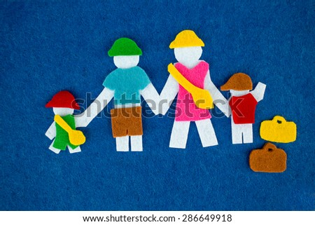 Young family with luggage concept background - stock photo
