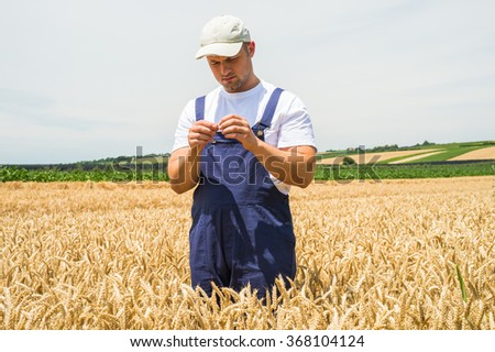 Young farmer in wheat fields - stock photo
