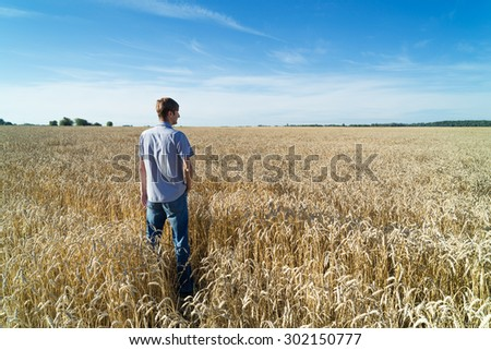 Young farmer stands in field with wheat. Wheat is grown for export.