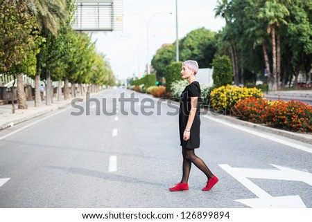Young fashion girl in outdoor