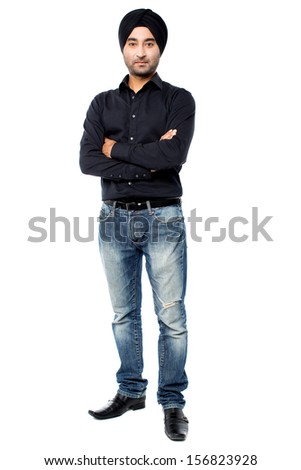 Young fashion guy in studio, full length portrait - stock photo