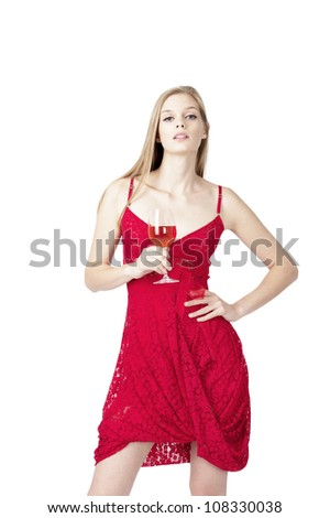 young fashion model holding red rose wineglass at white background