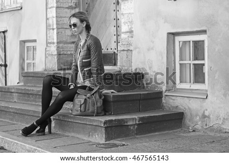 young fashion model in the street