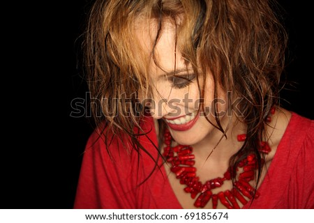 Young fashion model laughing - stock photo