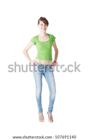 young fashion model posing at white background 20 years old - stock photo