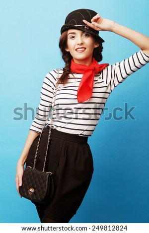 Young fashion woman. French style. - stock photo