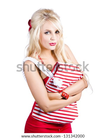 Young fashionable woman in red outfit - stock photo