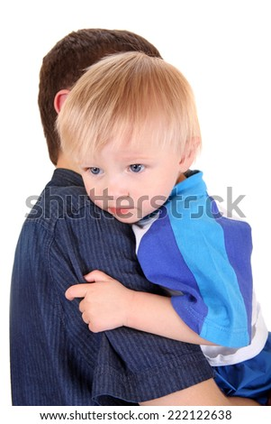 Young Father and Baby Isolated on the White Background