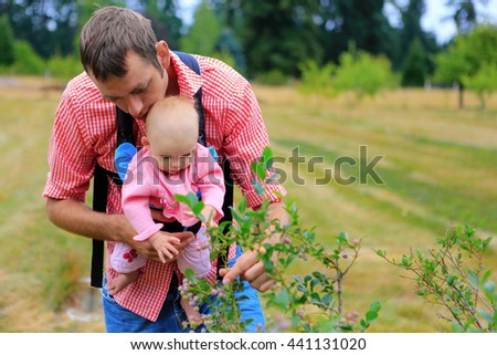 Young father and baby with baby Sling Carrier picking up blueberries  - stock photo