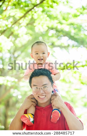 Young father and little child