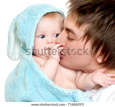 young father holding its lovely daughter - stock photo