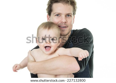 Young father with baby - stock photo