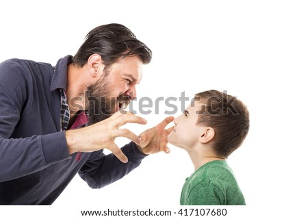 Young father yelling to his son isolated over white background - stock photo
