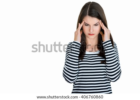 Young female adult with headache, on white background - stock photo