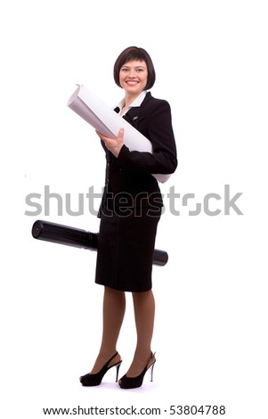 Young female architect holding tube with blueprints. Construction worker with tubes containing blueprints, isolated on a white background. Young engineer working on draft. - stock photo