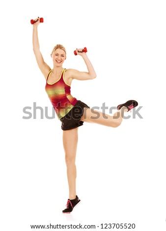 Young female athlete doing aerobics - stock photo