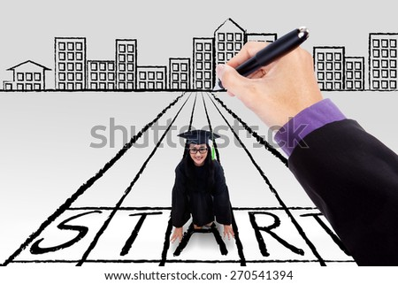 Young female bachelor kneeling on a start line with a hand give a guide to start her new journey - stock photo